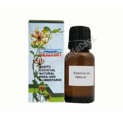 Aceite esencial natural de tomillo 17ml. Apto para uso alimentario.