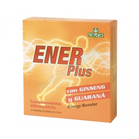 Enerplus 10 ampollas - Ginseng + Guarana+ Eleuterococo. Sotya