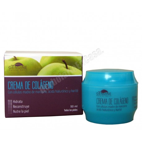 Crema colágeno, células madre de manzana, ácido hialurónico y karité.
