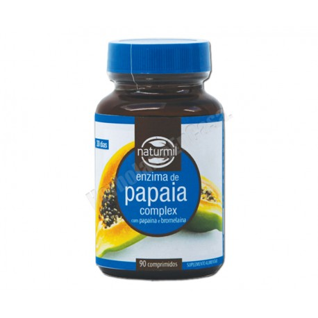 Enzimas de papaya complex con papaína y bromelaína, 90 comprimidos.