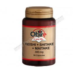Hongos Reishi, Shitake y Maitake 300mg 90 cápsulas. Obire