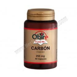 Carbón Vegetal - 250mg - 60 cápsulas. Obire