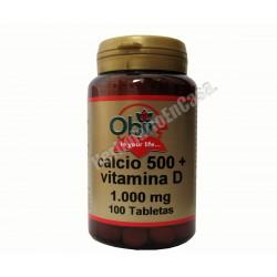 Calcio 500 + Vitamina D 1000mg 100 comprimidos. OBIRE