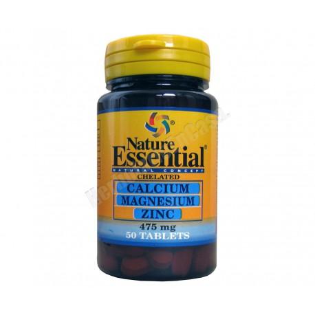 Calcio, Magnesio y Zinc (quelado) 475mg 50 comprimidos. Nature Essential