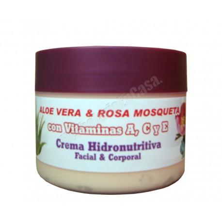 Crema Hidronutritiva Facial y Corporal. Aloe y Rosa Mosqueta con Vitaminas A,C y E 250ml