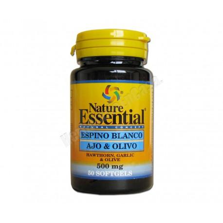 Espino blanco, ajo y olivo 500mg 50 perlas - Nature Essential